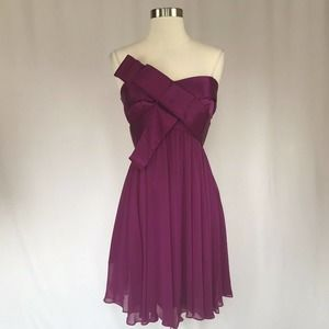Betsy & Adam Women's Cocktail Dress Size 6 Purple Strapless Fit and Flare $179